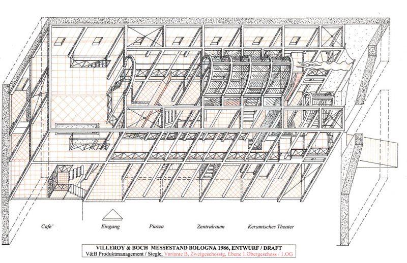 Entwurf V&B Messestand Bologna (eingeschossig)