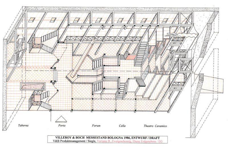 Entwurf V&B Messestand Bologna (zweigeschossig)